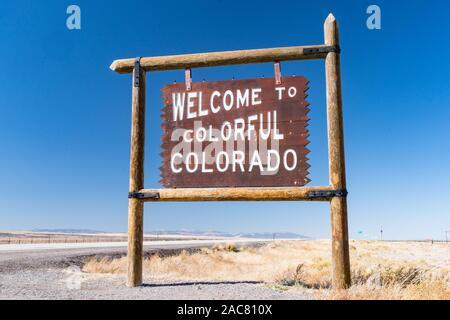 Antonito, CO - October 3, 2019: Welcome to Colorful Colorado Sign near the Colorado - New Mexico Border - Stock Photo