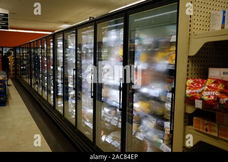 Freezer aisle of the local grocery store. Ottawa, Ontario, Canada. - Stock Photo