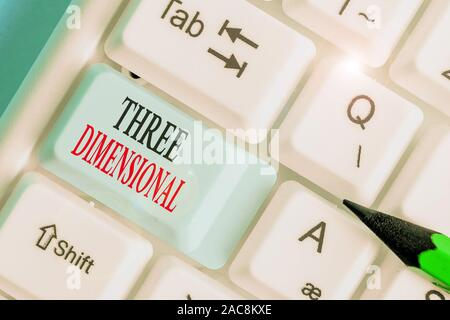 Writing note showing Three Dimensional. Business concept for Things that have depth and can be rotated in space - Stock Photo