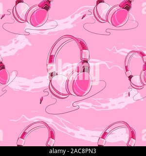 Pink girly headphones with a cable seamless pattern. Music genres, audio connection illustration. - Stock Photo