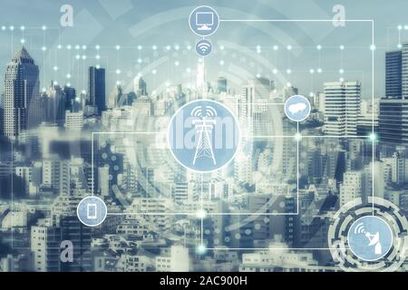 Smart city and wireless communication network concept - Internet of Things ( IOT ), Information Communication Technology ( ICT ) - Stock Photo