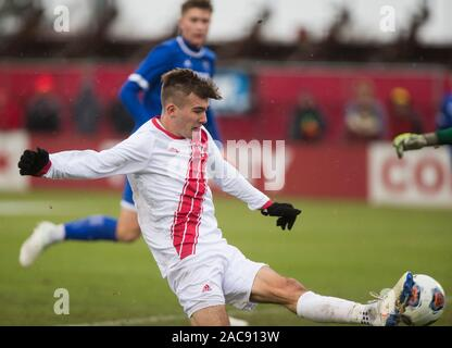 Indiana University's Joshua Penn (11) takes a shot against University California Santa Barbara during an NCAA tournament sweet 16 soccer game at Armstrong Stadium, Sunday, December 1, 2019 in Bloomington, Indiana. IU lost to UCSB 1-0 in overtime. UCSB's Will Baynham scored the goal to upset the Hoosiers on OT. - Stock Photo