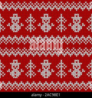 Knitted seamless pattern with snowmen and Christmas trees. Vector background. Red and white sweater ornament for winter holidays design. - Stock Photo