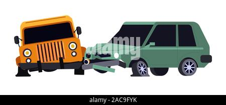 Vehicles collision or car crash isolated icon, careless driving - Stock Photo