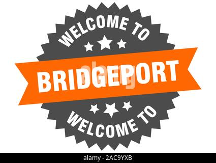 Bridgeport sign. welcome to Bridgeport orange sticker - Stock Photo