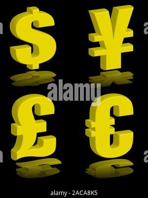 money symbols gold - Stock Photo
