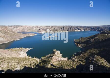 Reservoir of the river Rio Autel, Canon del Autel gorge, Andes, Argentina, Storage lake of river Rio Autell, Andes, Argentina - Stock Photo