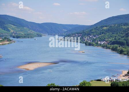 View of the romantic Rhine Valley near Bacharach, UNESCO World Heritage Upper Middle Rhine Valley, Rhineland-Palatinate, Germany - Stock Photo