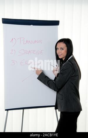 Coach Flipchart in German - Stock Photo