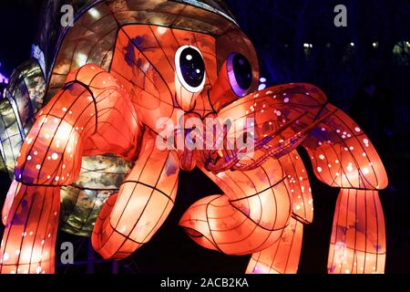 Paris, France. 1st Dec, 2019. 'Ocean on the way to enlightenment', festival of lights of Jardin des Plantes in Paris, France. - Stock Photo