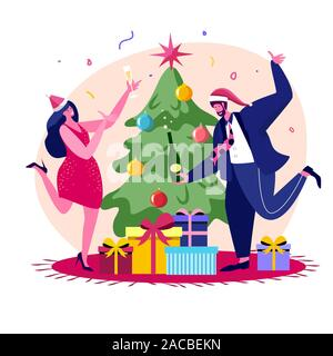 New Year Christmas Celebration at Work or Home, Decorated Xmas Tree, Gifts and Confetti. Happy Colleagues or Business People Fun in Office Party - Stock Photo