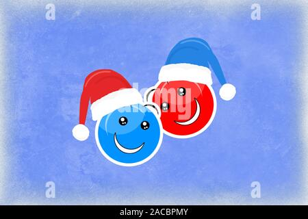 Two smiling faces on a blue background in holiday hats symbolize Christmas and New Year - Stock Photo