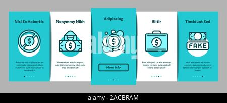 Fake Money Onboarding Elements Icons Set Vector - Stock Photo
