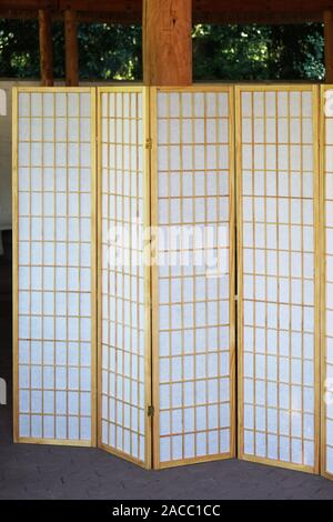 japanese folding screen made from bamboo and paper - Stock Photo
