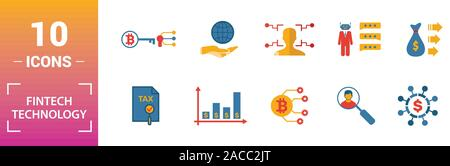 Fintech Technology icon set. Include creative elements basic income, bitcoin technology, online loan, kyc, business model icons. Can be used for - Stock Photo