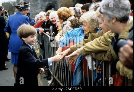 HRH Diana, Princess of Wales proudly watches HRH Prince William greet the crowds during his first official visit to Wales on St. David's Day, Cardiff, Stock Photo