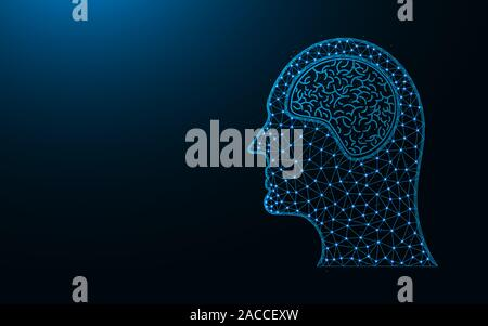 Human head and brain low poly icon, human organ abstract geometric image, medical wireframe mesh polygonal vector illustration made from points and li - Stock Photo
