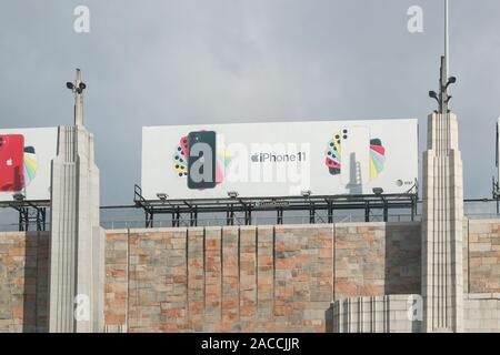 New York November 28 2019:A billboard advertising the iPhone 11 pro which on the Lincoln Tunnel - Image - Stock Photo
