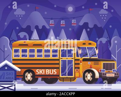 Yellow Ski Bus Shuttle on Winter Background - Stock Photo