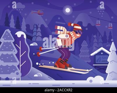 Free Ride Skiing Man on Winter Mountains - Stock Photo