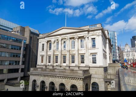 Exterior view of the facade of Fishmongers Hall, London Bridge, City of London on the North Bank facing the River Thames, London EC4 - Stock Photo