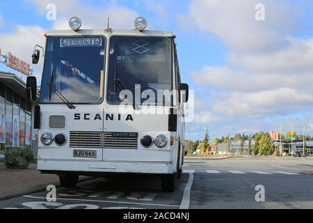 FORSSA, FINLAND - SEPTEMBER 27, 2014: Classic Scania Lahti 20 bus parked.  Lahti 20 is a chassis type made by the Finnish manufacturer Lahden Autokori - Stock Photo