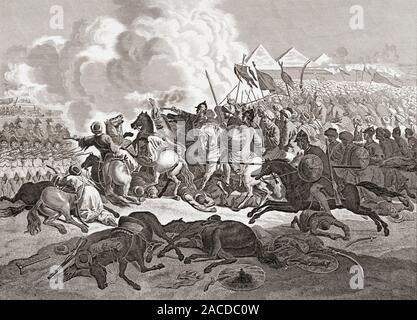 The Battle of the Pyramids, aka the Battle of Embabeh, July 21, 1798, between the French army in Egypt under Napoleon Bonaparte, and forces of the local Mamluk rulers. - Stock Photo