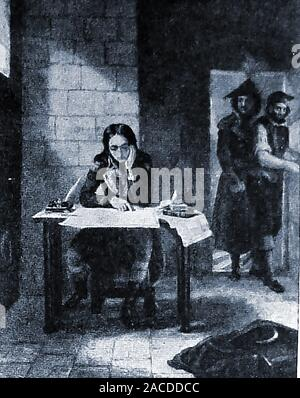An historical image of Napoleon under arrest in Fort Carre, Antibes, France in 1794. Full name Napoleone di Buonaparte (1769-1821) - Stock Photo
