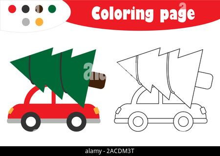 Fir tree on car in cartoon style, christmas coloring page, education paper game for the development of children, kids preschool activity, printable - Stock Photo