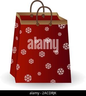 Party festive gift bag of red paper with golden ribbon decorated with a winter pattern of snowflakes isolated on a white background - Stock Photo