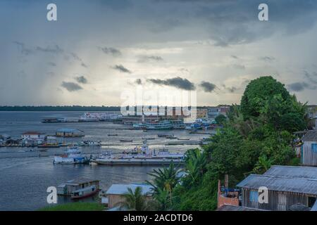 Swimming houses on Lake Tefé, small town of Tefé on Solimoes River, Amazon State, Northern Brasilia, Latin America - Stock Photo