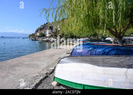 The waterfront of the Old city of Ohrid on the shore of Lake Ohrid  in North Macedonia,   Europe. - Stock Photo