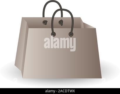 Party festive gift bag of white paper isolated on a white background - Stock Photo