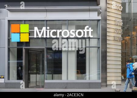 New York November 28 2019: Microsoft store in midtown Manhattan. Microsoft is one of the world's largest software, hardware and video gaming companies - Stock Photo