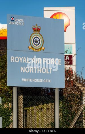 RAF Northolt is a Royal Air Force station in South Ruislip, Hillingdon, London, UK. Entrance sign at White House Gate. 2 Group Air Combat Support - Stock Photo