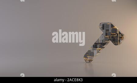 3d rendering metal techno rectangular geometric greeble symbol of workshop hammer icon with glowing lines with blurred reflection floor on light backg - Stock Photo