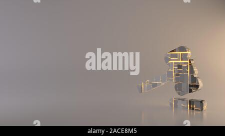 3d rendering metal techno rectangular geometric greeble symbol of law hammer icon with glowing lines with blurred reflection floor on light background - Stock Photo
