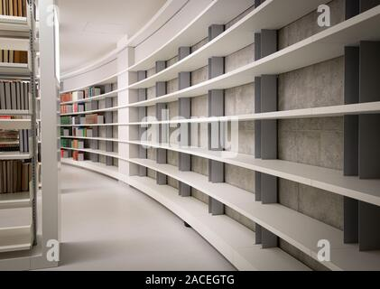 Empty bookshelves from a new library education building - Stock Photo
