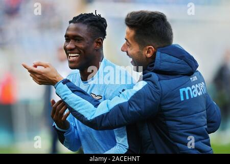 Bastos of Lazio shares a laugh with Jony during warming up before the Italian championship Serie A football match between SS Lazio and Udinese Calcio on December 1, 2019 at Stadio Olimpico in Rome, Italy - Photo Federico Proietti/ESPA-Images - Stock Photo