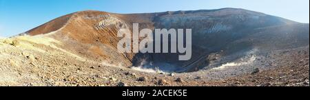 close panoramic view of the sulfurous huge vulcano crater, aeolian islands, italy - Stock Photo