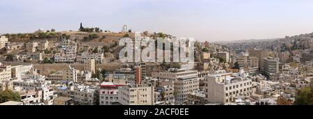 Panoramic view of Downtown Amman, Jabal Al Qalah and Citadel, seen from Jabal Amman. Jabal Amman, Amman, Jordan, Middle East Stock Photo