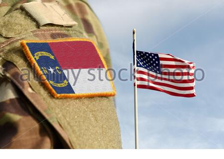Flag the State of North Carolina on military uniform. United States. USA, army, soldiers. Collage. - Stock Photo
