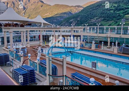 Taken fron the Lido deck of the Norwegian Sprit. The small village Flåm is one of the most popular destinations in Norway and Scandinavia - Stock Photo