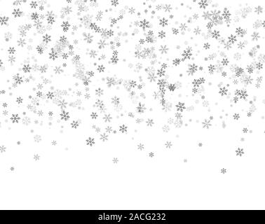Snowflakes falling from the sky. Abstract background for holiday. Merry Christmas and Happy New Year pattern. Vector illustration on white background - Stock Photo