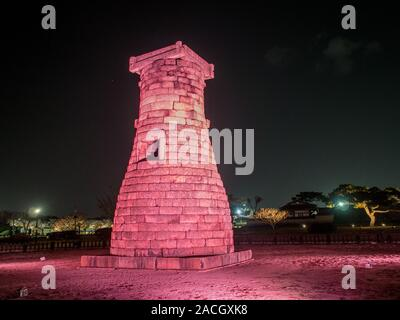 Cheomseongdae astronomical observatory, at night, Gyeongju, South Korea - Stock Photo