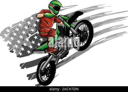 motocross rider ride the motocross bike vector illustration - Stock Photo