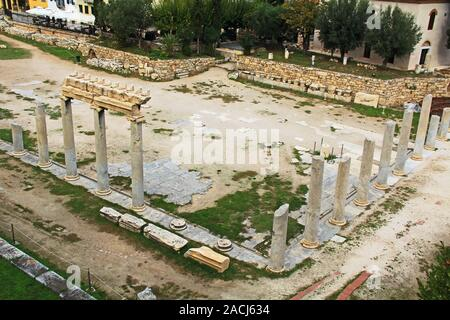 Roman Agora Near The Tower of the Winds in Athens, Greece - Stock Photo