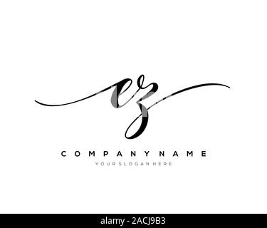 EZ Letter initial handwriting logo vector. - Stock Photo