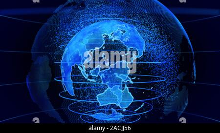 Blue 3D rendering of earth technology, business and communications background. Earth globe rotation with plexus particles around. TV news - Stock Photo
