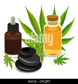 Medicinal cannabis with extract oil in a bottle of Formula - Stock Photo